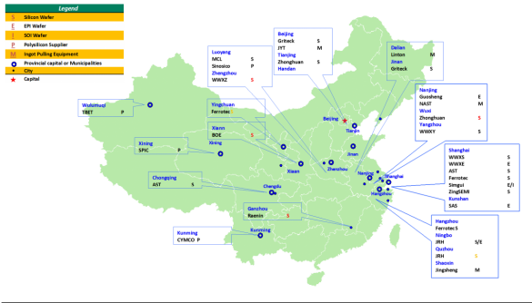 China Map on Silicon, Polysilicon, and equipment map