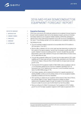 Total Semiconductor Equipment Forecast-An OEM Perspective
